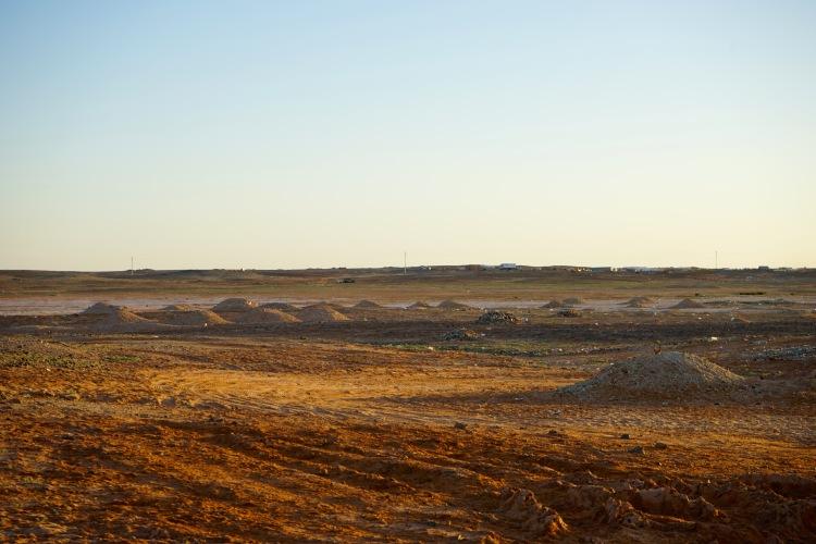 Los montones después de haber extraído la arena